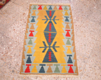 Vintage Runner Rug Turkish Oushak 65x30 inches kilim rug Oushak