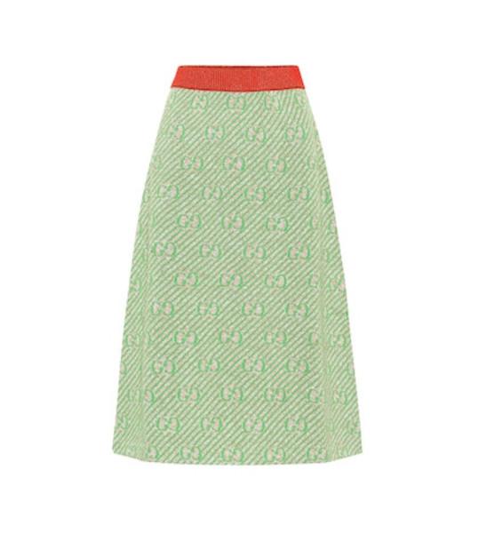 Gucci GG striped wool-blend skirt in green