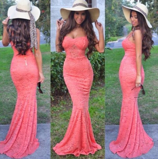 Cute hot fashion lace long dress elegant