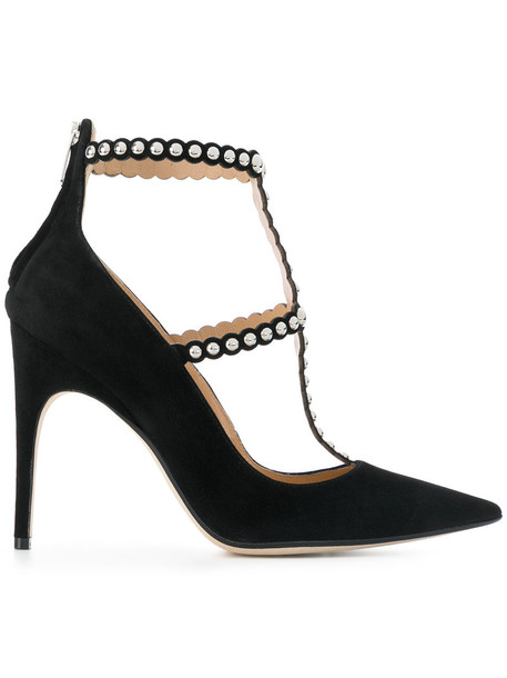 Sergio Rossi studded women embellished pumps leather suede black shoes