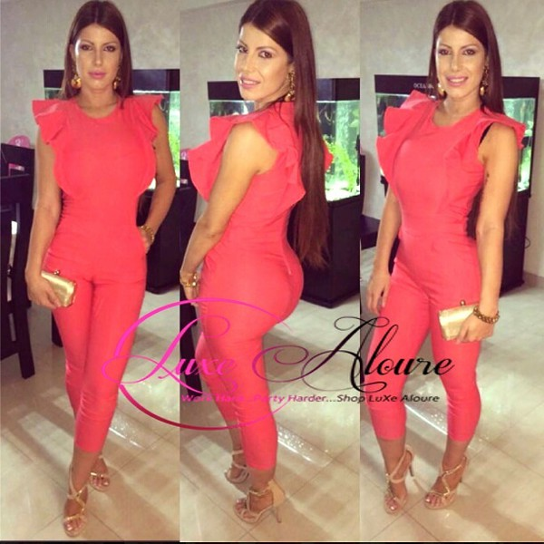 jumpsuit coral sleeveless jumpsuit