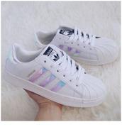 shoes,girl,girly,girly wishlist,adidas,adidas shoes,adidas superstars,adidas originals,tumblr,holographic,holographic shoes