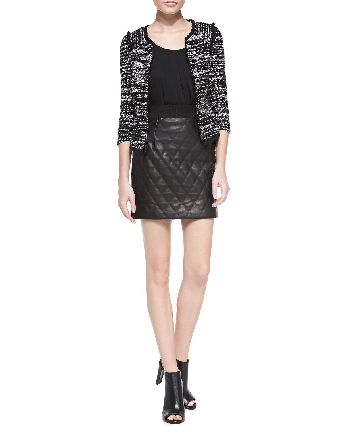 Milly Tweed Zip-Front Jacket with Fringe Trim, Pleated Silk Tank & Quilted Banded Leather Miniskirt