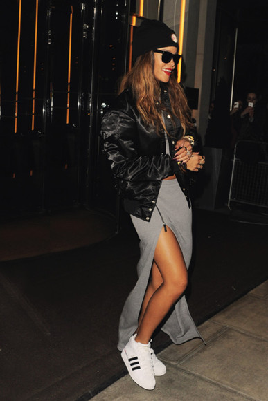 rihanna shoes celebrity white sneakers skirt open skirt grey coat jacket adidas fashion