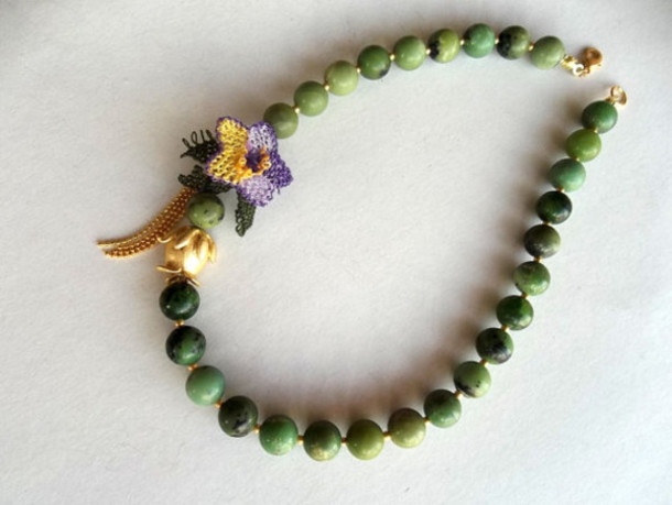 jewels necklace green jewelry handmade necklace women women fashion