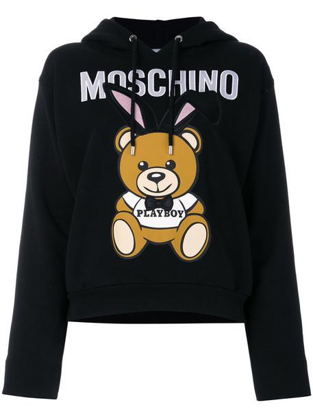 Moschino hoodie embroidered women cotton black sweater