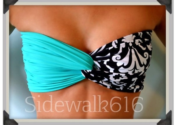 swimwear bikini light blue teal black white black and white