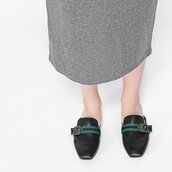 shoes,black mules,leather mules,leather,mules,flats,black flats,classy,charles and keith,buckles