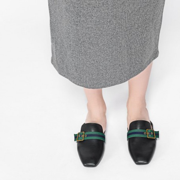 shoes black mules leather mules leather mules flats black flats classy charles and keith buckles