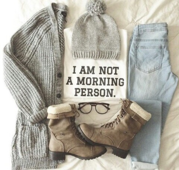 knitted cardigan grey pom pom beanie winter outfits graphic tee winter boots combat boots cardigan shoes jeans shirt