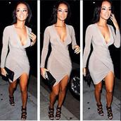 asymmetrical,asymmetrical hem,nude,nude dress,dress,bodycon dress,bodycon,v neck dress,vneck dress,v neck,deep v-neck dress,plunge v neck,nude bodycon dress,asymmetrical drape dress