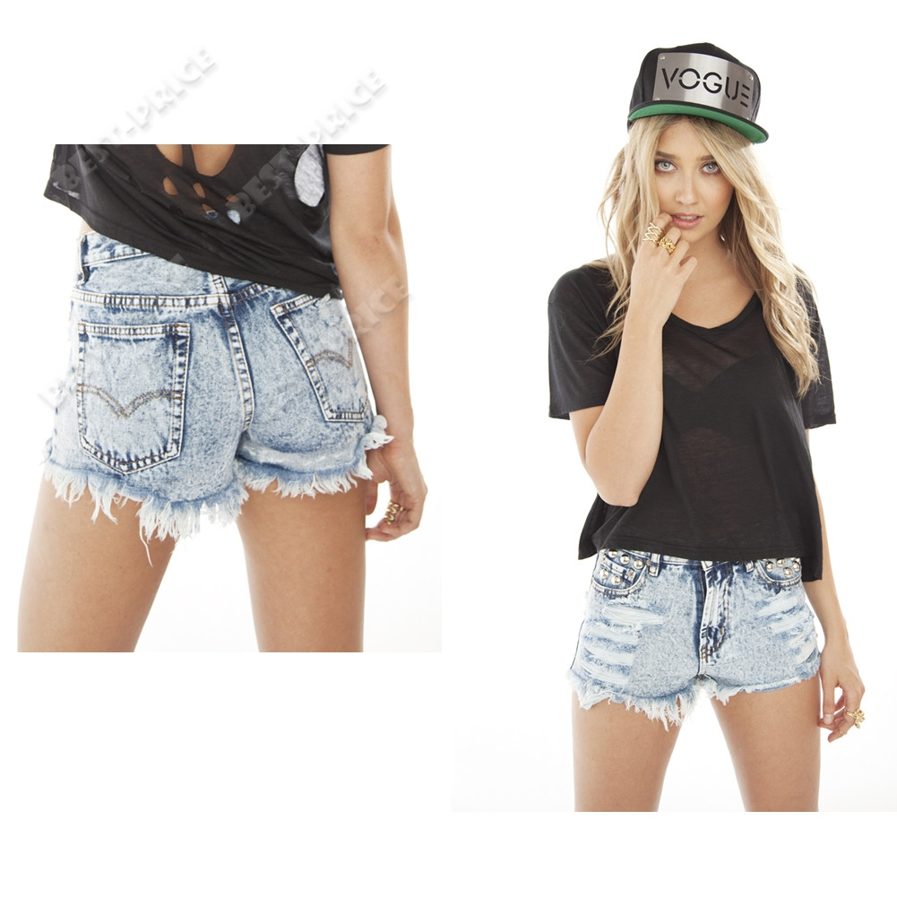 Fashion Punk High Waisted Ripped Studded Denim Shorts S/M/L Size ...