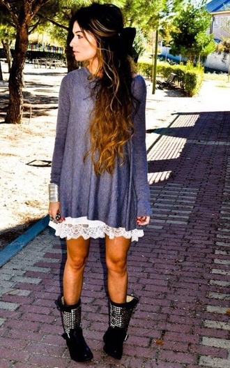 sweater boho outfit lace chic
