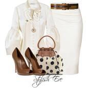 shirt,white,puffy,white skirt,purse,heels,polka dots,skirt