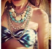 swimwear,tie dye,festival,india,boho,summer,beach,sea,bohemian,surf,printed swimsuit,jewels,tan,blue,gold,jewlrey,necklace,statement necklace,bikini top,brunette,tumblr