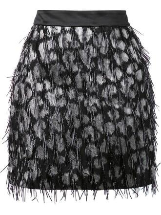 skirt women embellished black silk wool