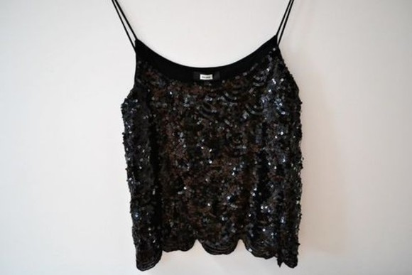 black top top tank top crop tops black pailettes sparkels