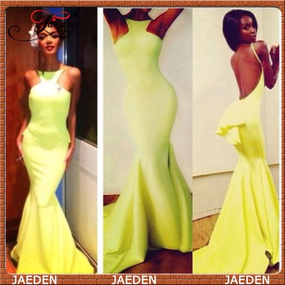 dress yellow dress halter dress mermaid dress