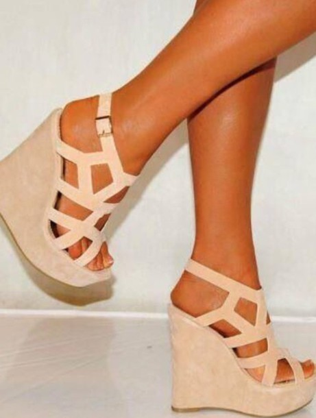 shoes wedges nude cute
