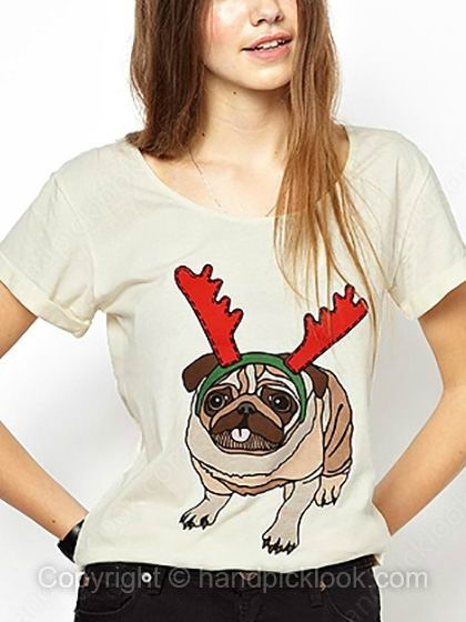 Beige Short Sleeve Dogs Print T-Shirt - HandpickLook.com