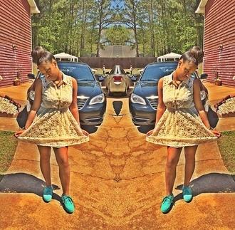 white dress floral dress short dress shoes blue shoes light blue ankle length