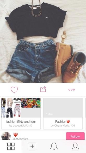 shirt black nike shorts
