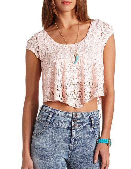48c696278d4 Short Sleeve Lace Crop Top: Charlotte Russe