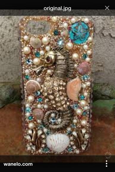 pearls phone case seahorses seashells iphone 4 case phone case beach