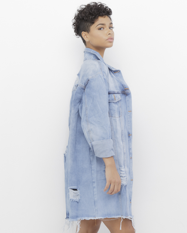 90's Inspired Distressed Long Denim Jacket at FLYJANE
