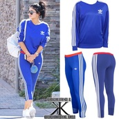 sweater,kylie jenner,adidas,blue,pants,white,stripes,cropped
