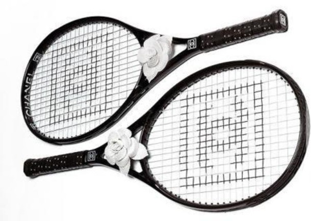 home accessory racket tennis black and white minimalist chanel