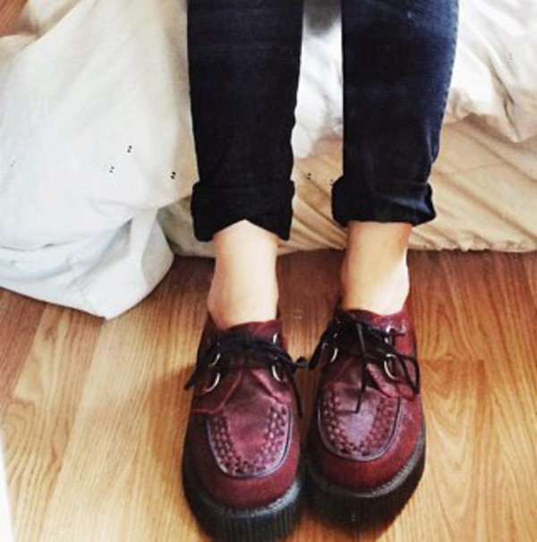 shoes burgundy creepers