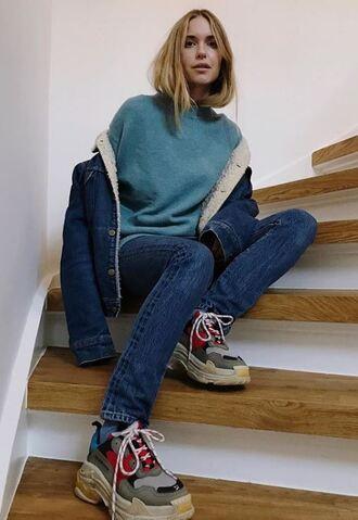 sweater jacket denim denim jacket jeans blogger instagram pernille teisbaek