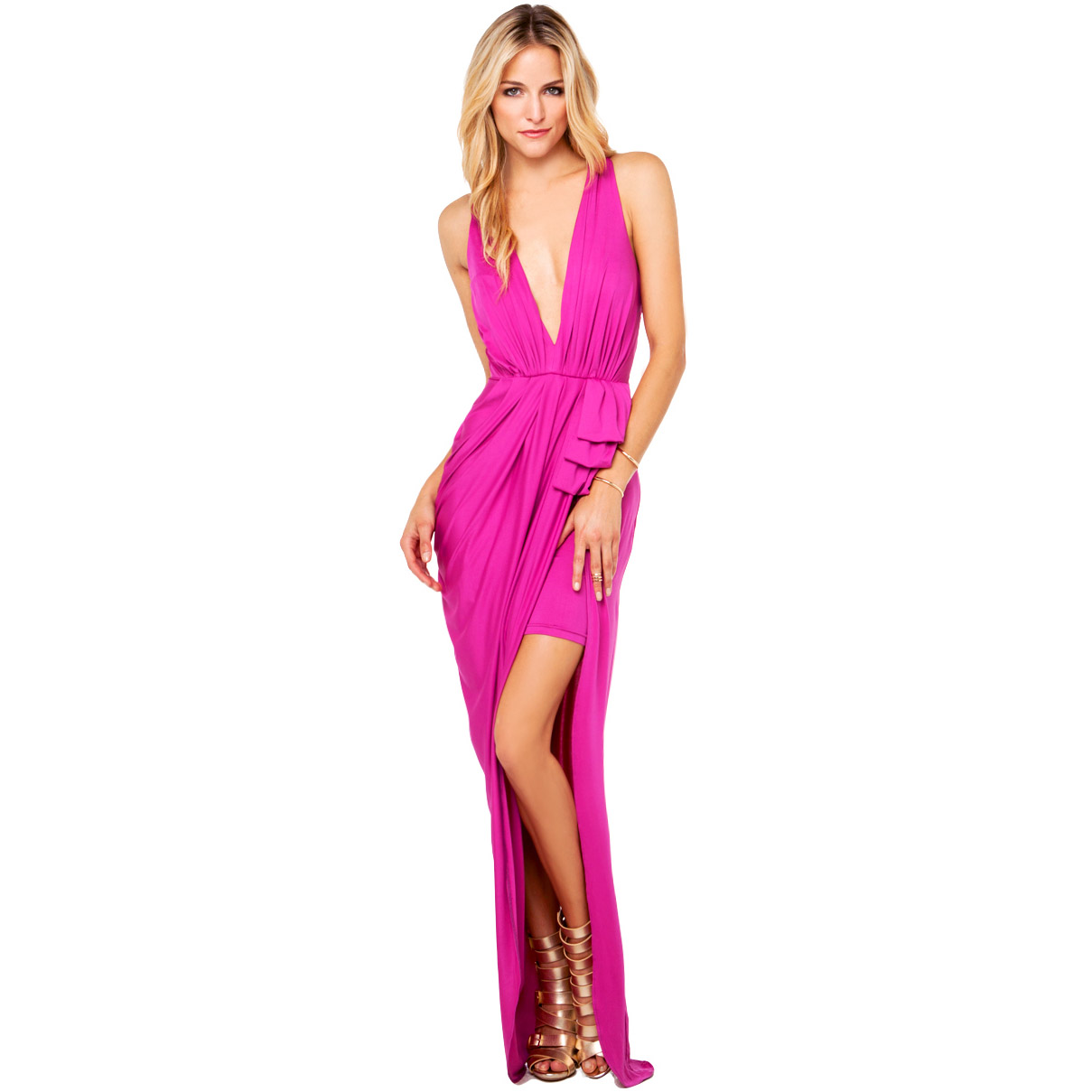 Purplish red deep V-neck spaghetti strap back racerback high waist pleated asymmetrical placketing long sweep haoduoyi one-piece | Amazing Shoes UK