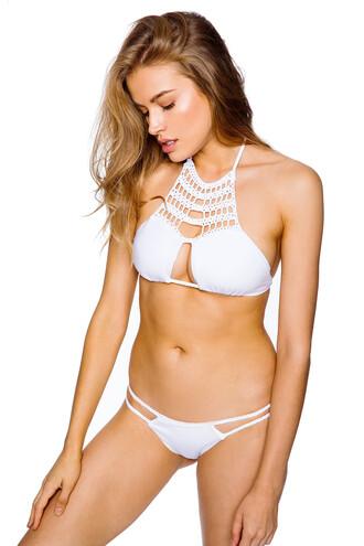 swimwear frankies bikini white bikini top white swimwear halter top crochet crochet bikini bikini bottoms white bikini braided coachella