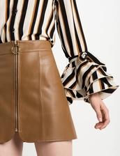 skirt,brown leather ring circle zip skirt,brown leather skirt,leather skirt,circle zip skirt
