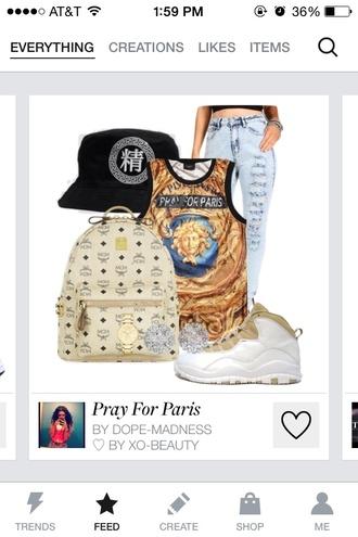 shoes bag jeans pray for paris jewels shirt
