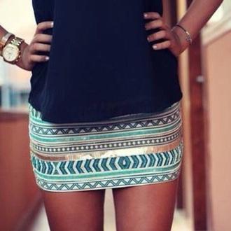 skirt blue sky white stripes miniskirt mini party outfit pattern aztec