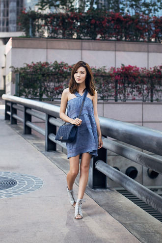 tsangtastic blogger blue dress denim dress quilted bag flat sandals halter dress spring dress