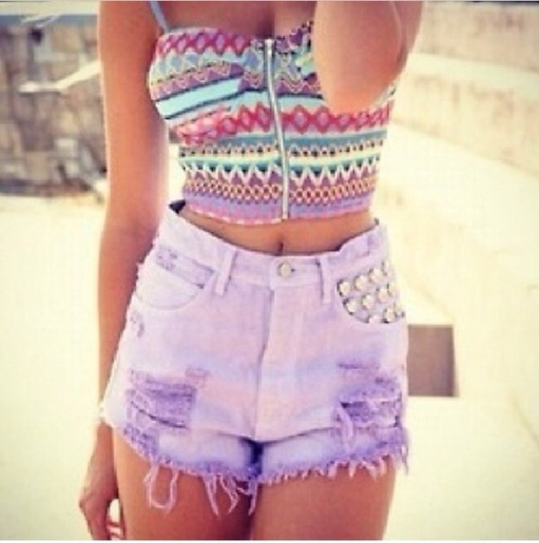 tank top crop tops tribal pattern tribal top tribal crop top purple shorts shorts denim shorts high waisted denim shorts studs studded shorts summer festival