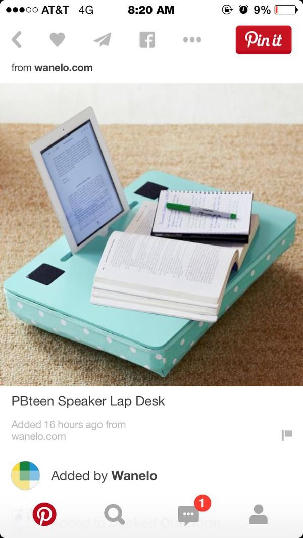 home accessory speaker lap desk tablet holder desk mint girly office supplies stationary