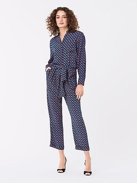 DVF Women's Alexi Silk Crepe De Chine Belted Jumpsuit