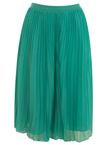 Jade pleated mid length skirt