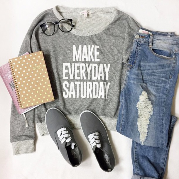 shirt long sleeves t-shirt black grey sweater dope shit pants style shoes saturday hipster grey t-shirt grey jeans