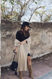 seams for a desire,blogger,cardigan,dress,shoes,bag,hat,t-shirt,jewels,sunglasses,shirt,boots,black dress,felt hat,fall outfits