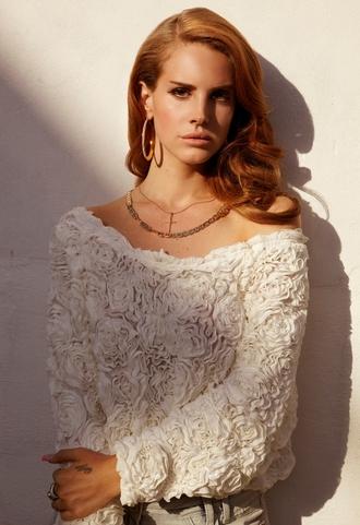 chiffon 3d flower mesh jumper sweater lana del rey roses white white lace white top
