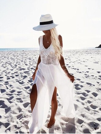 dress girly girl girly wishlist maxi dress maxi white white dress crochet crochet dress beach all white everything summer cute