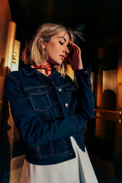 jacket,tumblr,denim jacket,blue jacket,scarf,silk scarf,dress,grey dress,blonde hair,hair,hairstyles,short hair