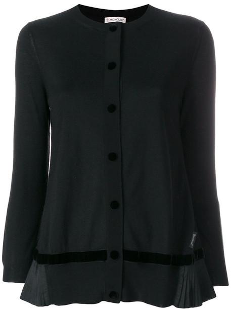 Moncler - pleated hem cardigan - women - Silk/Polyester/Wool - XS, Black, Silk/Polyester/Wool