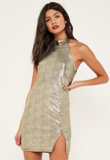 Missguided - Gold Foiled Metallic High Neck Mini Dress